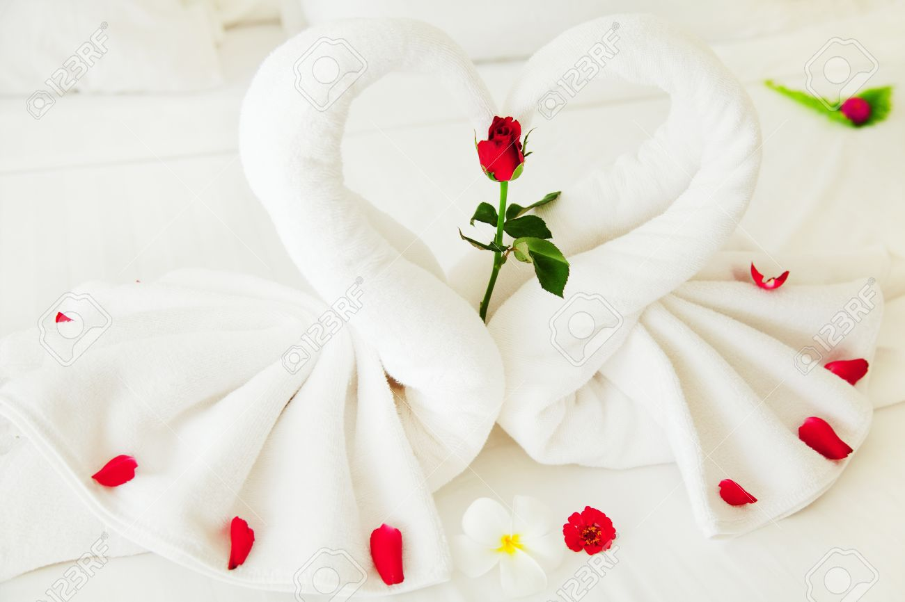 Towel Swan Heart On The Bed