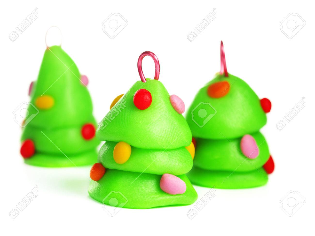 Polymer Clay Christmas Tree.Christmas Tree Handmade Decoration Isolated On White Made