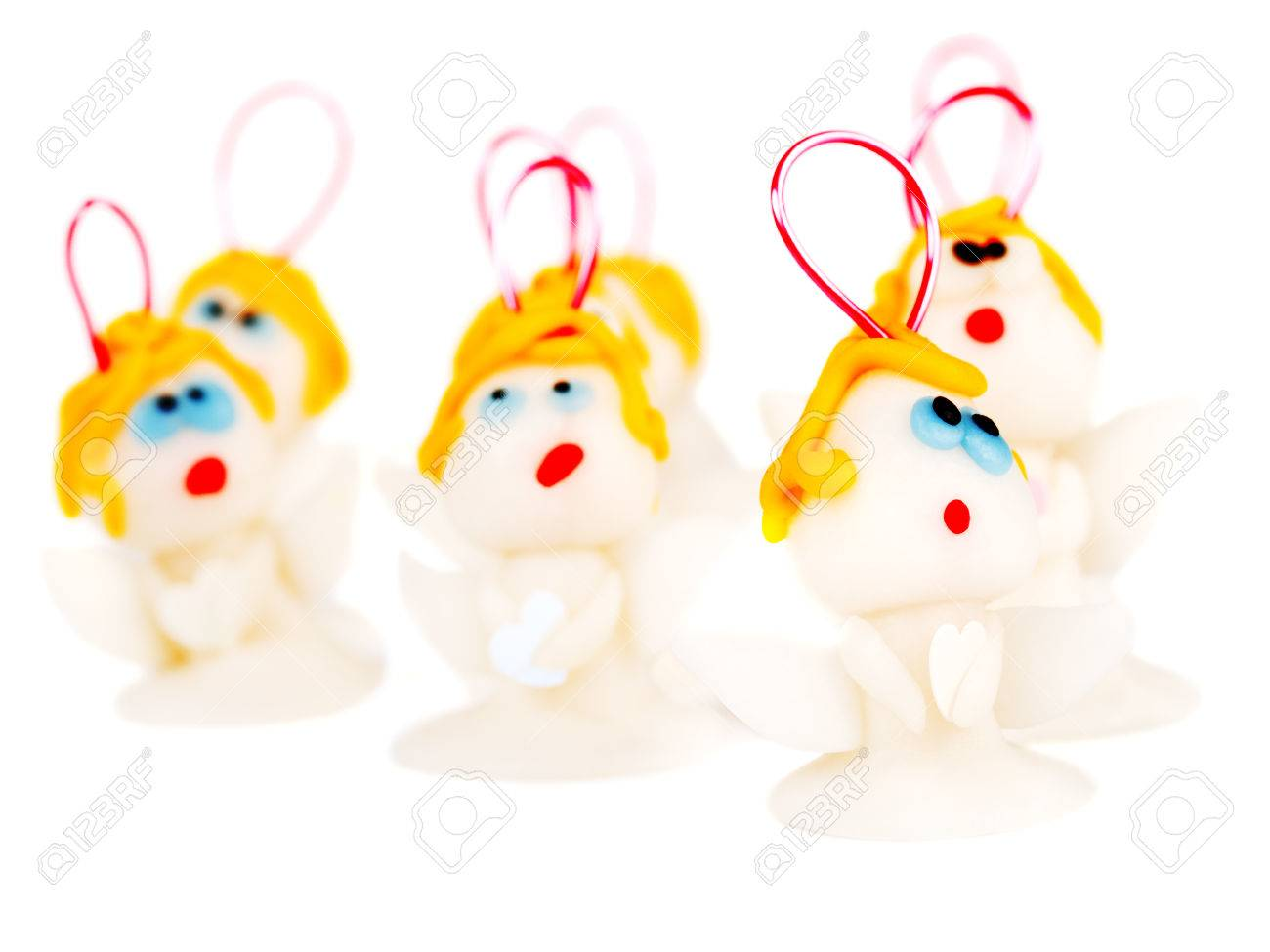 Christmas Angels, Made Of Polymer Clay Stock Photo, Picture And ...