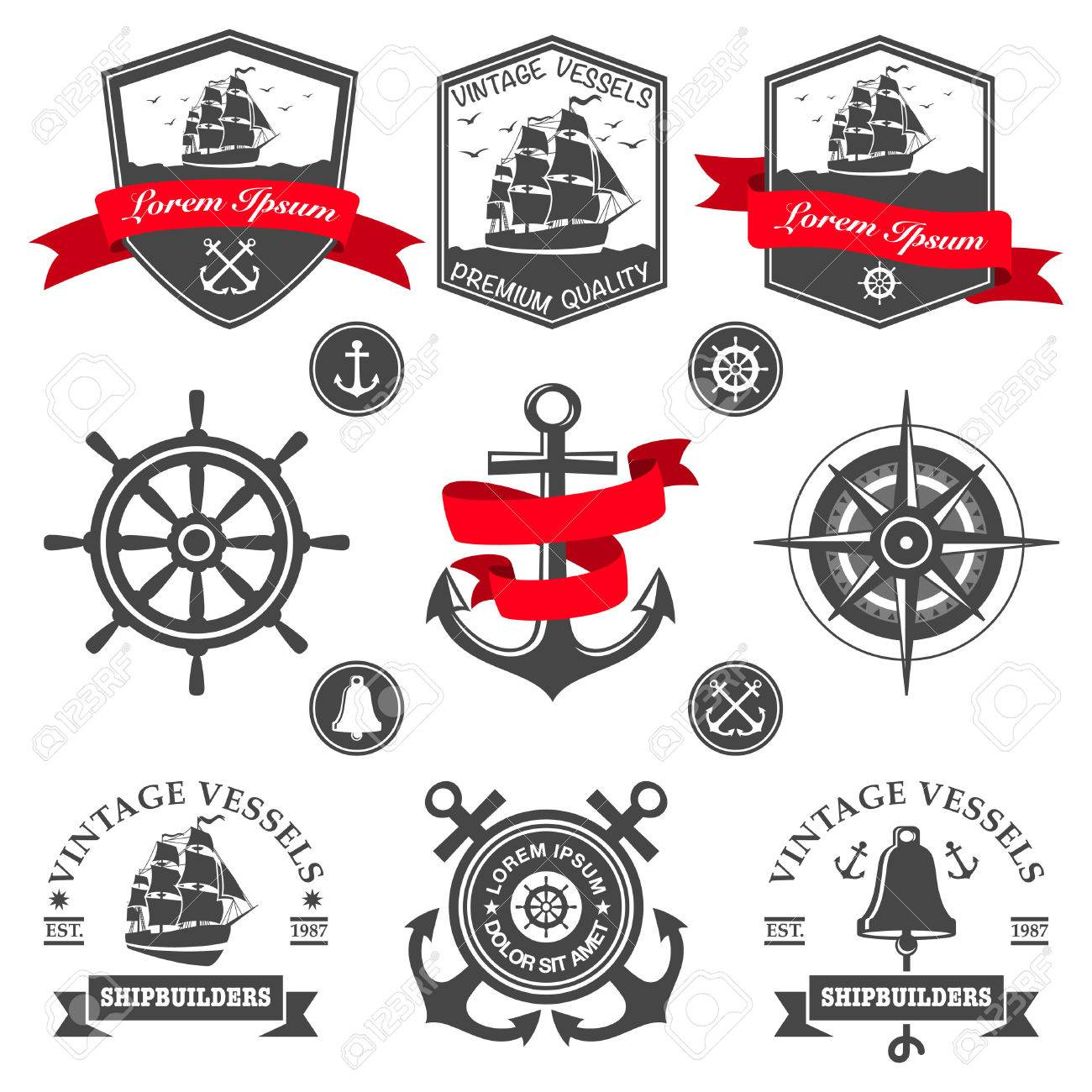 Set of vintage nautical labels and icons Stock Vector - 22490191
