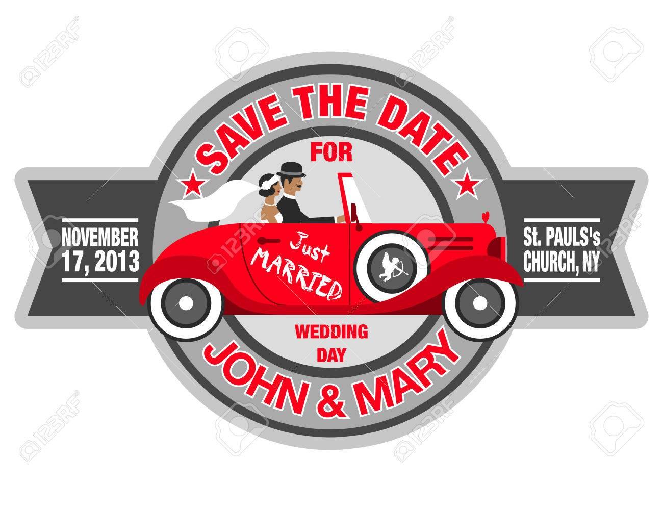 Wedding Invitation With Bride And Groom In Retro Car Royalty Free ...