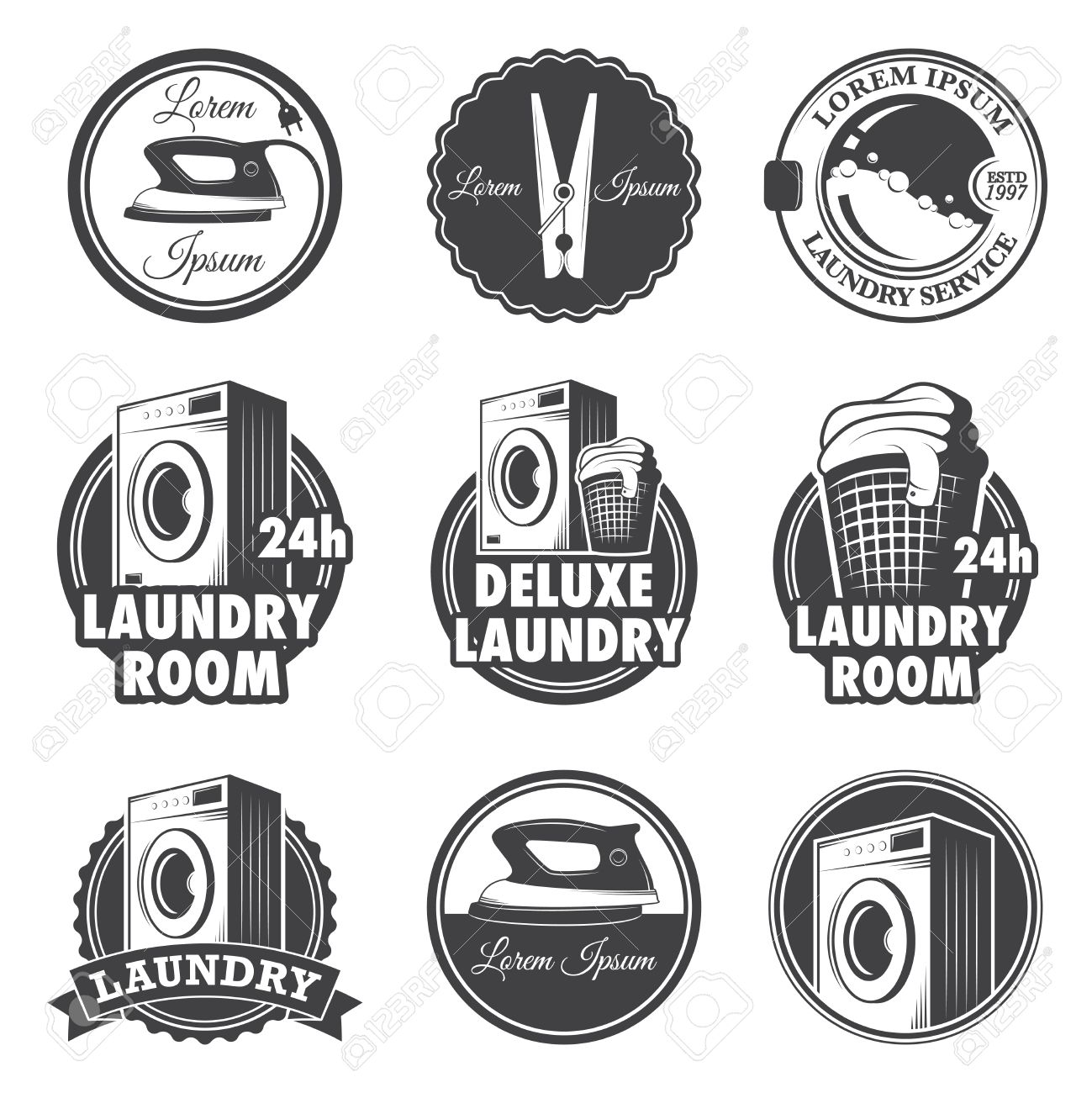 Set Of Vintage Laundry Emblems Labels And Designed Elements Stock Vector