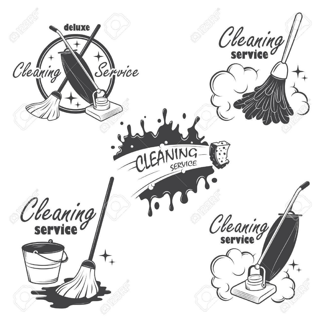 Set Of Cleaning Service Emblems, Labels And Designed Elements ...