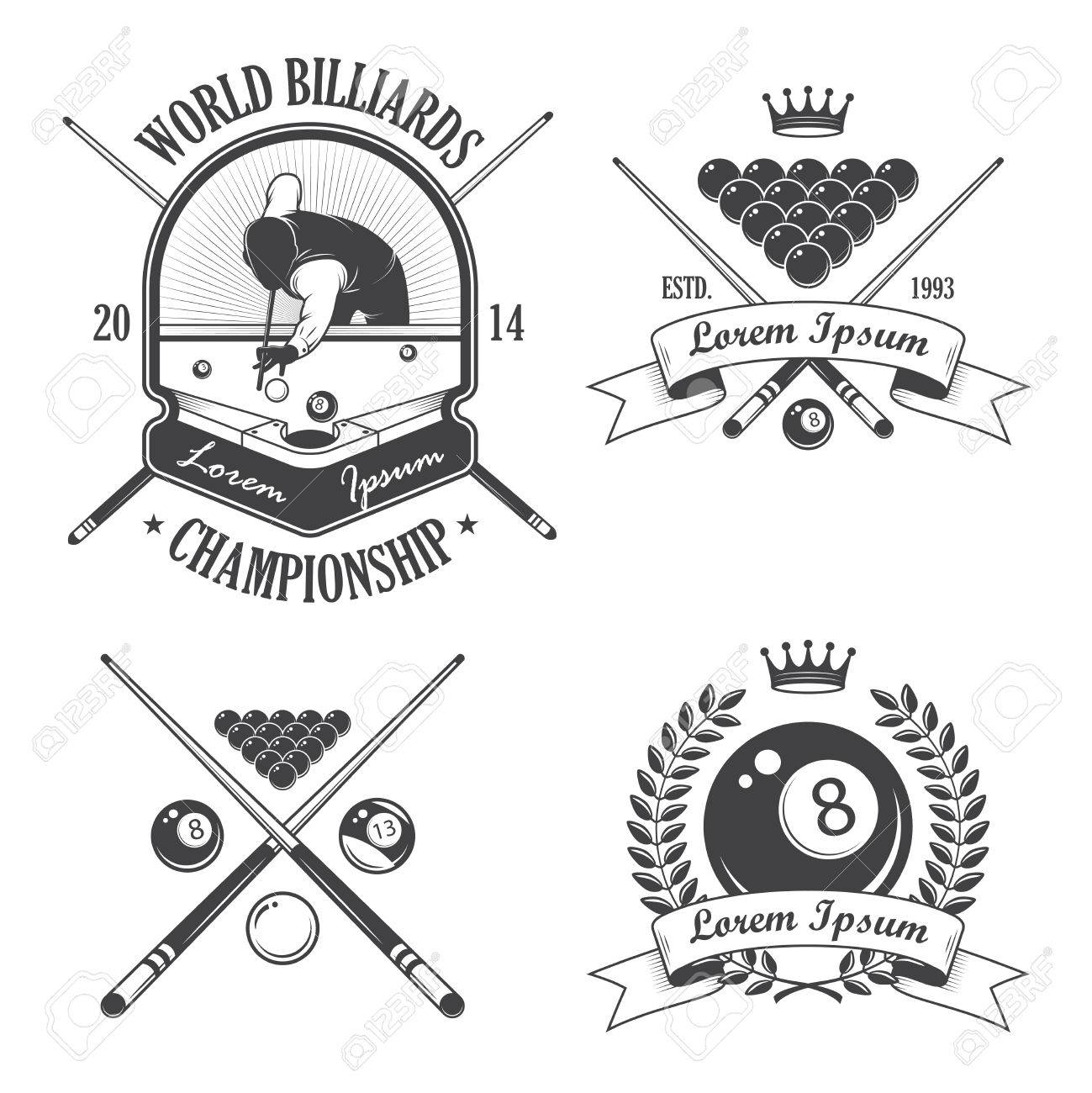 Set of billiards emblems labels and designed elements Banque d'images - 29425287