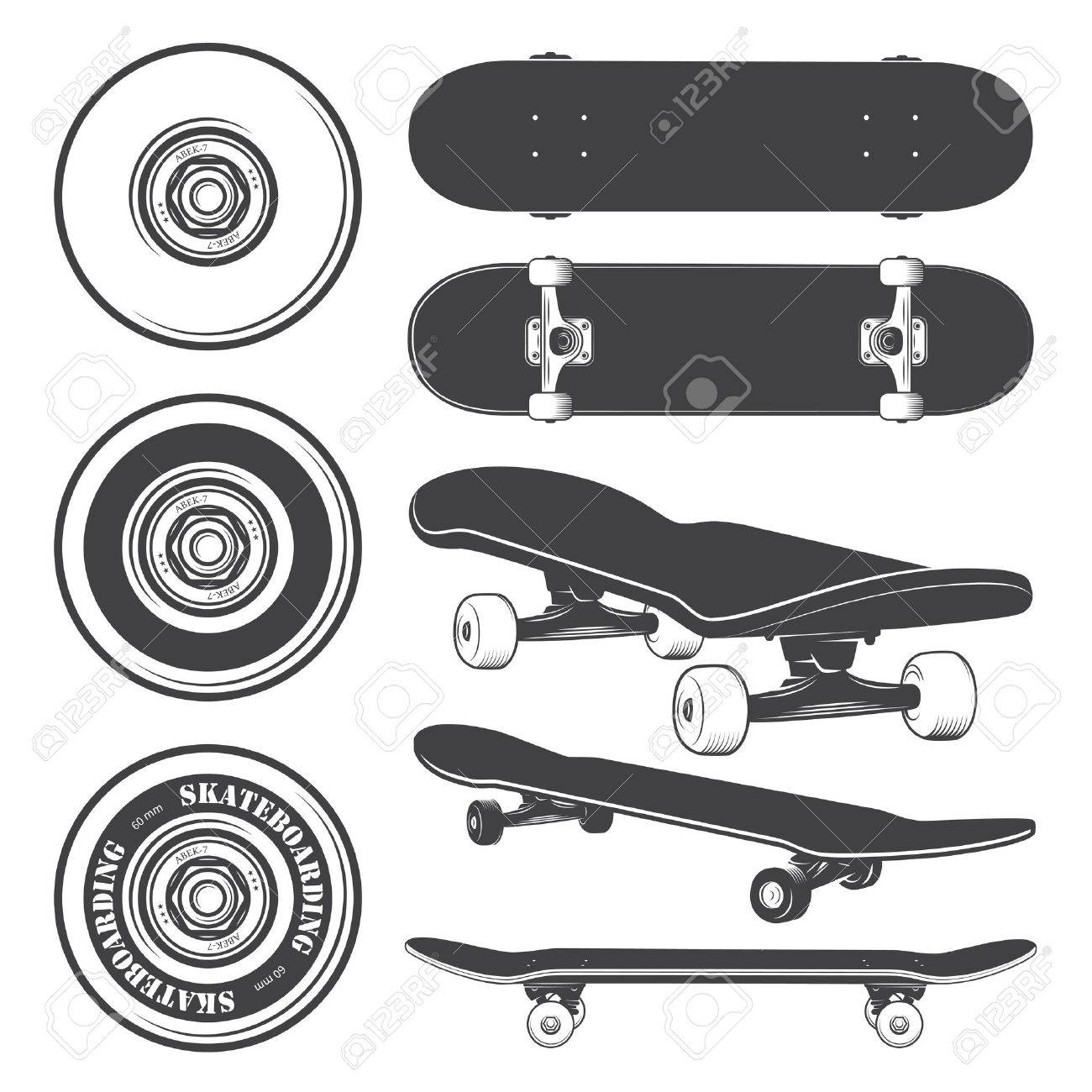 e91e2506 Set Of Skateboards And Skateboarding Wheels. Royalty Free Cliparts ...
