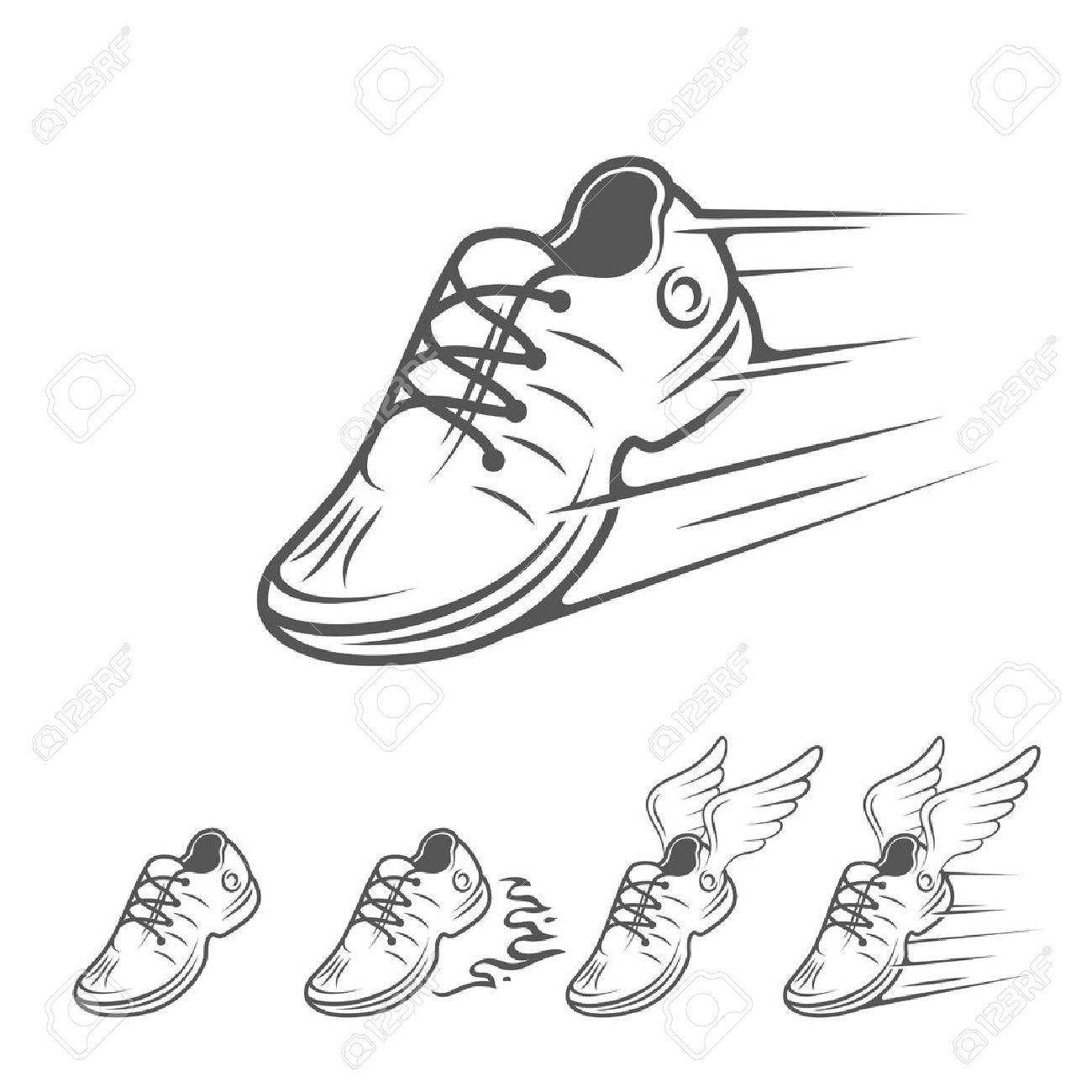 on sale e737b c0597 Eccesso di velocità in esecuzione icone di scarpe in cinque varianti con  una scarpa allenatore, sneaker o sportivo con velocità e movimento sentieri