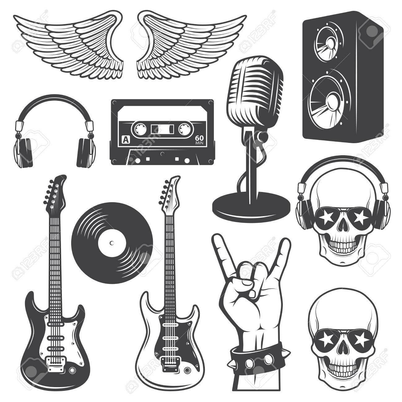 Set of rock and roll music elements. Monochrome - 33901863