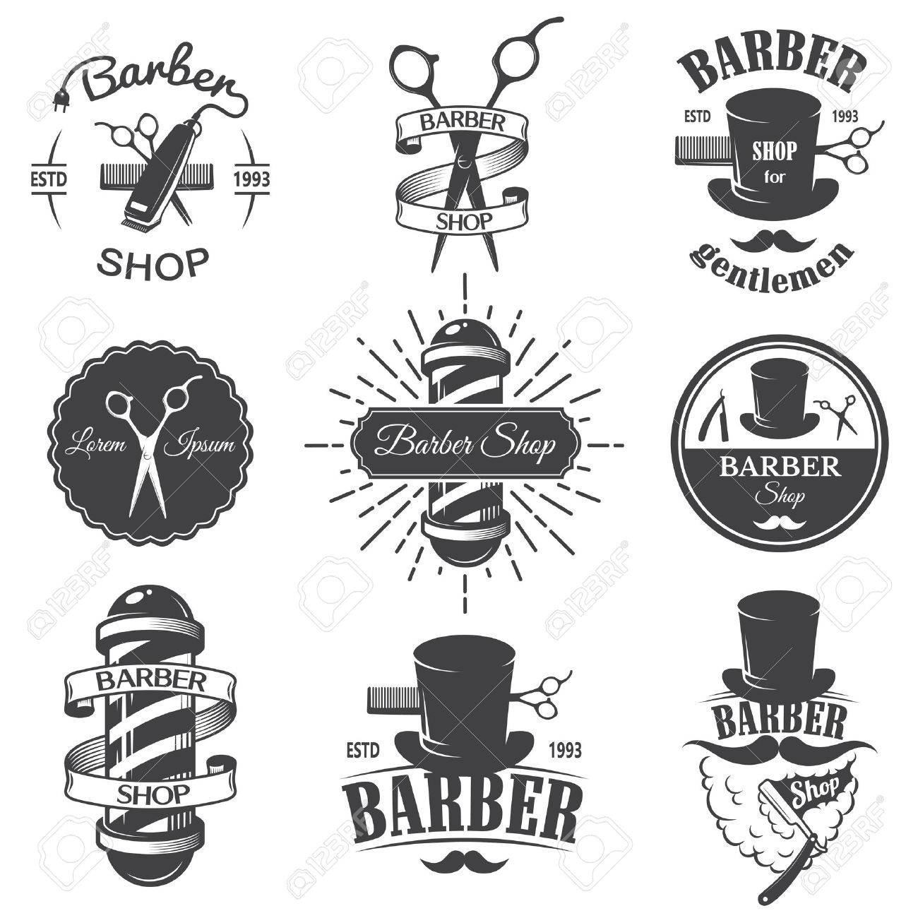 Set Of Vintage Barber Shop Emblems Label Badges And Designed Elements Monochrome Linear