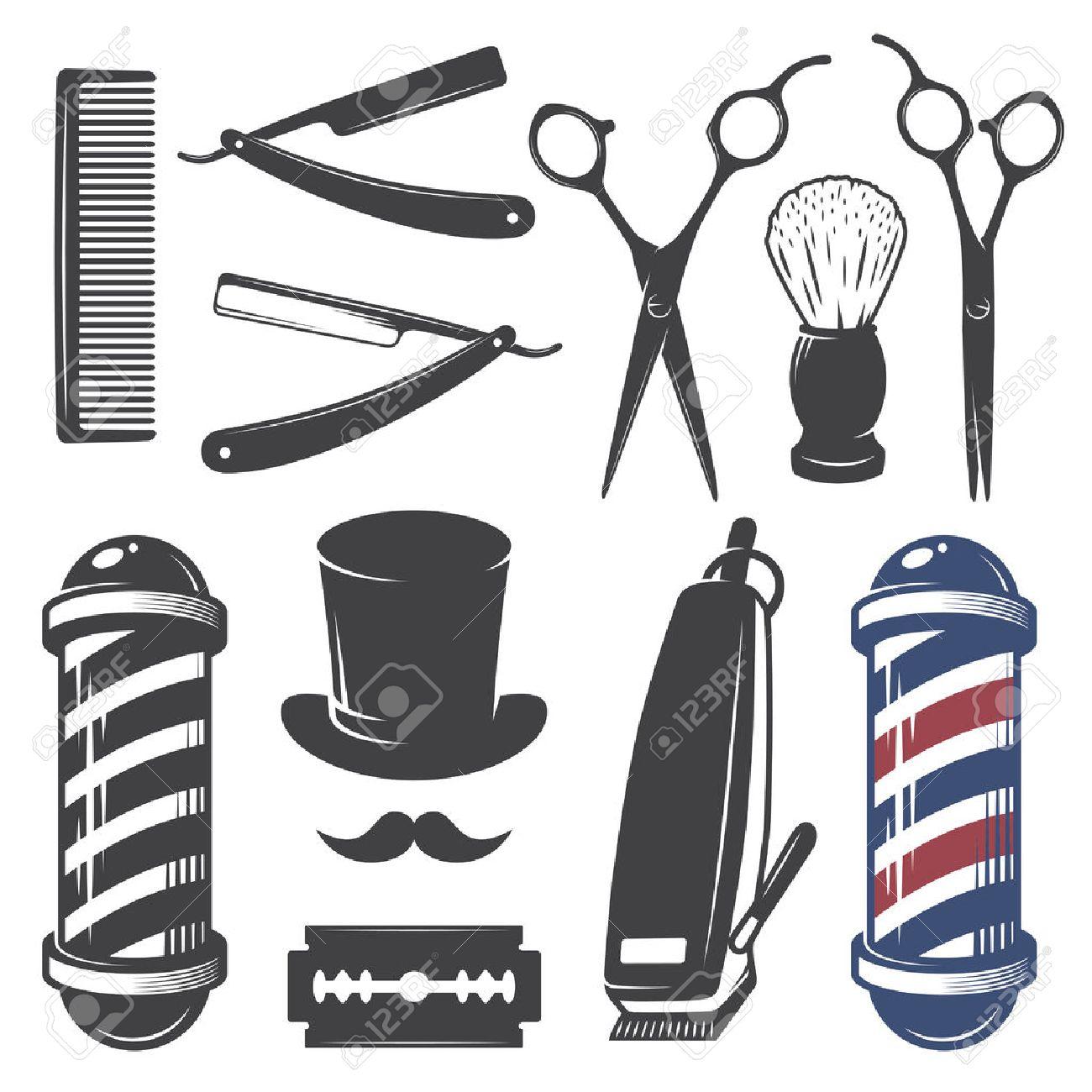 Set Of Vintage Barber Shop Elements Monochrome Linear Style Stock Vector