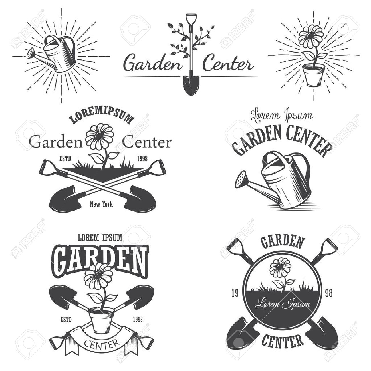 Set Of Vintage Garden Center Emblems, Labels, Badges, Logos And Designed  Elements.
