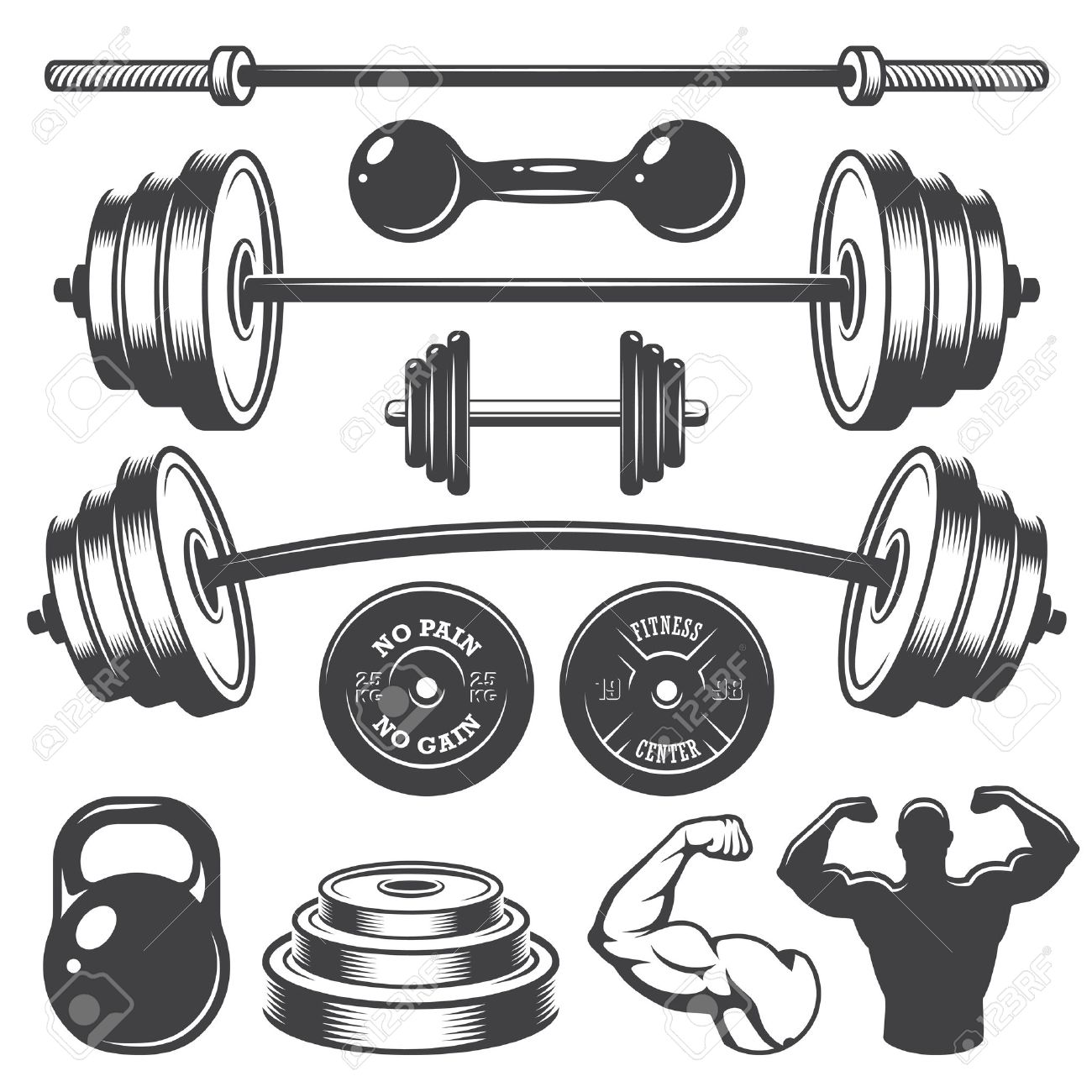 Set of vintage fitness designed elements. Monochrome style Stock Vector - 37370944