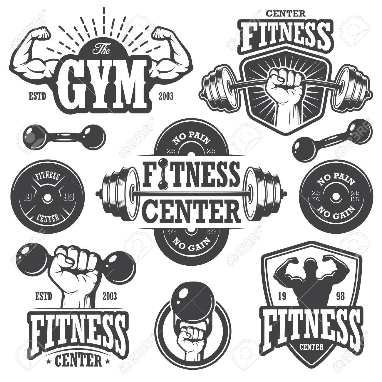 Second set of monochrome fitnes emblems, labels, badges, logos and designed elements. - 37370951
