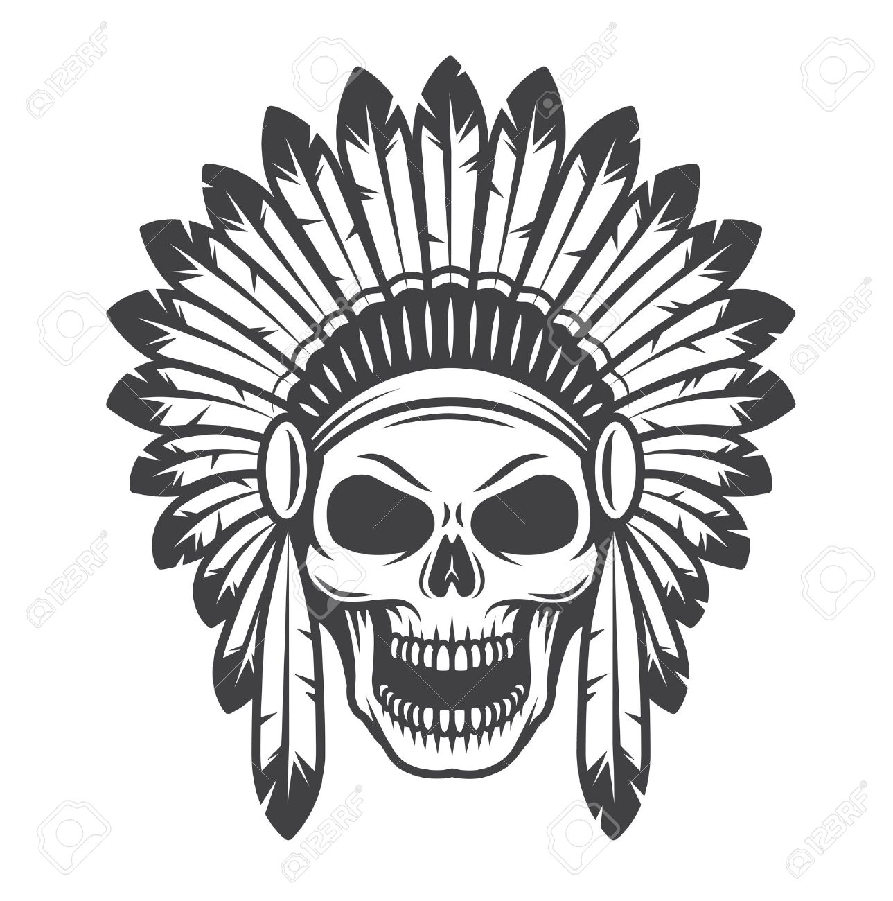 Indian chief headdress stock photos royalty free business images illustration of american indian skull monochrome style wild west theme biocorpaavc