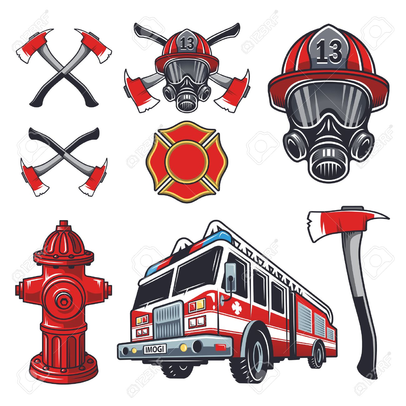17666 firefighter stock vector illustration and royalty free set of designed firefighter elements coloured buycottarizona Choice Image