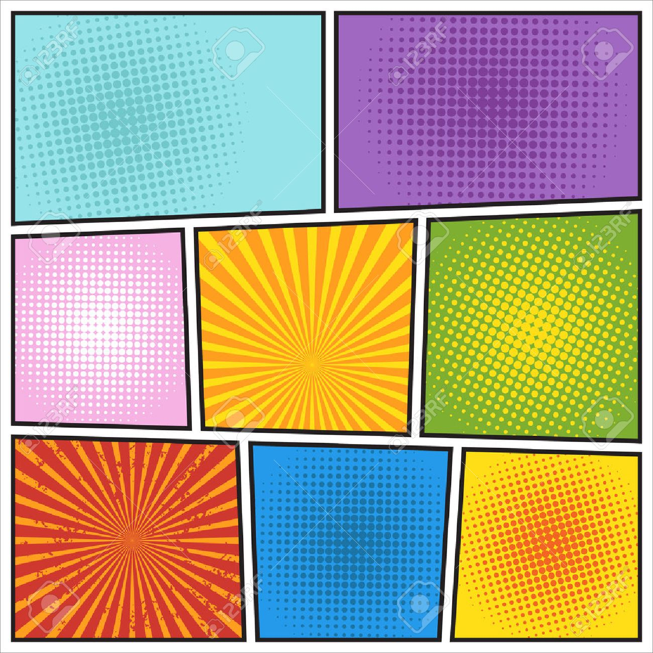 Comics Book Background. Different Colors Royalty Free Cliparts ...