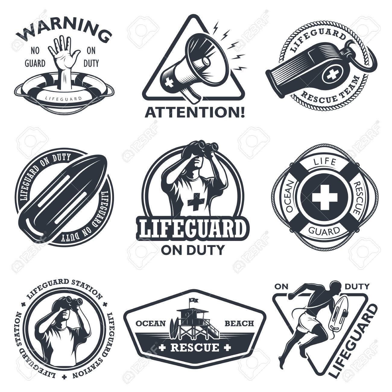 9c11d64bbe2 Set of vintage lifeguard emblems. Monochrome style. isolated on white  background. Stock Vector