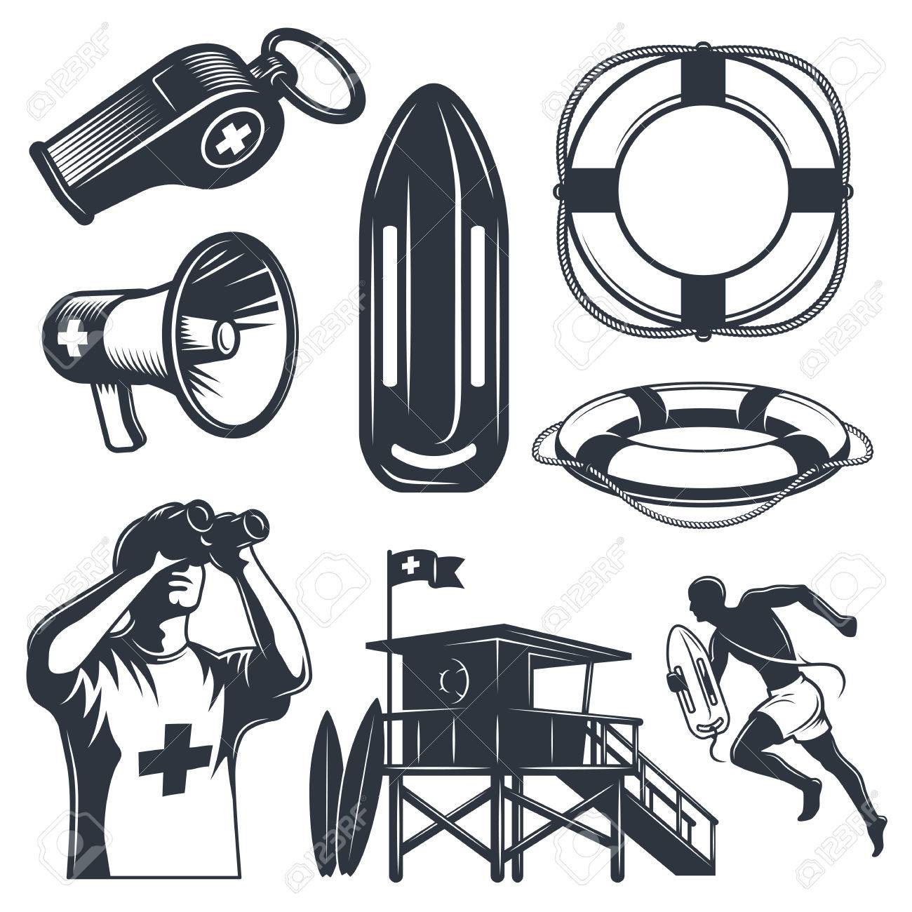 c6c063ba3c8 Set of vintage lifeguard elements. Monochrome style. isolated on white  background. Stock Vector
