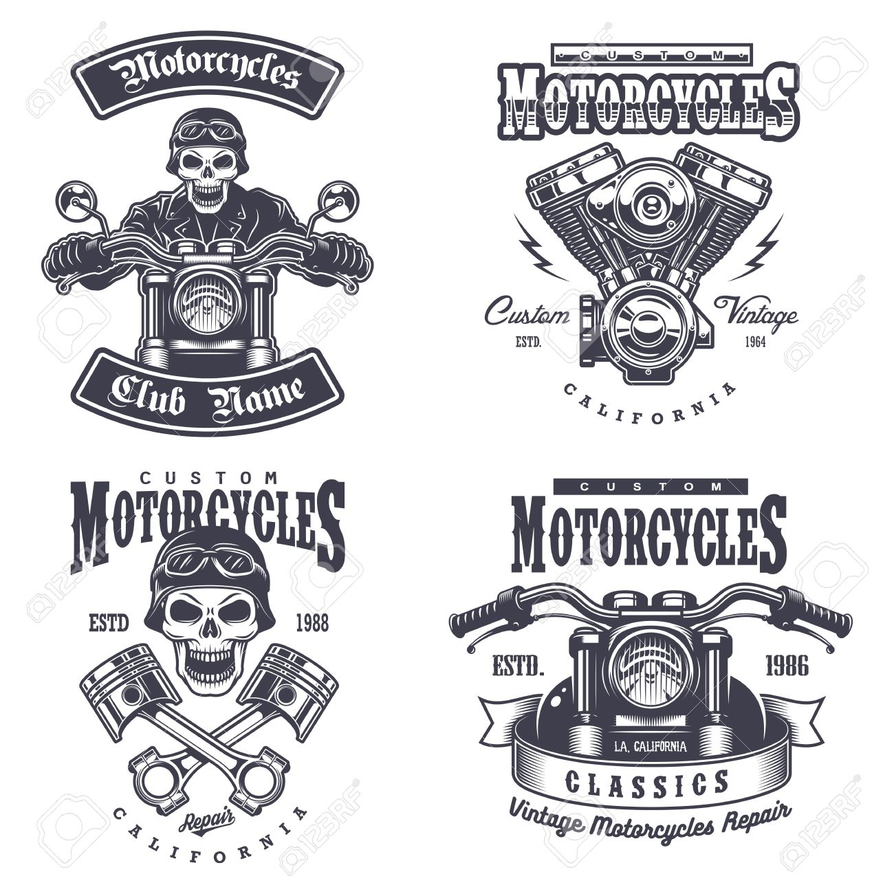Set Of Vintage Motorcycle Emblems Labels Badges Logos And