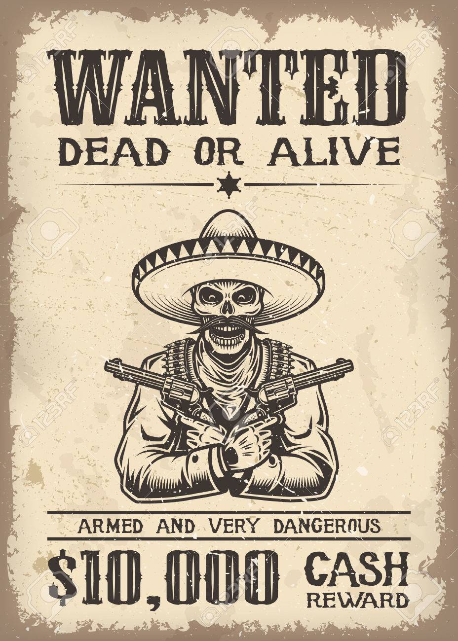 Vitage Wild West Wanted Poster With Old Paper Texture Backgroung ...