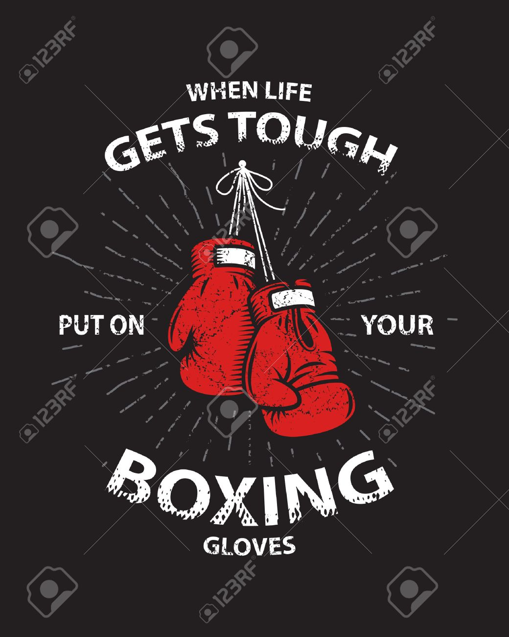 Grunge Boxing Motivation Poster And Print With Boxing Gloves ...