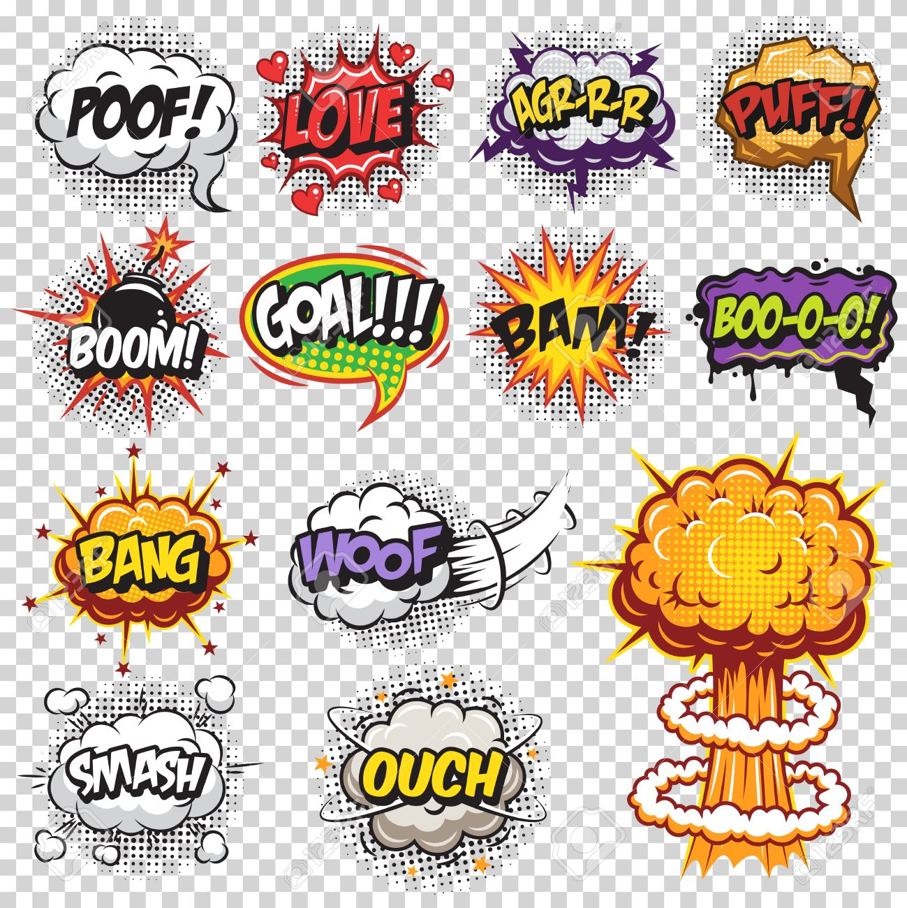 set of comics speech and explosion bubbles colored with text