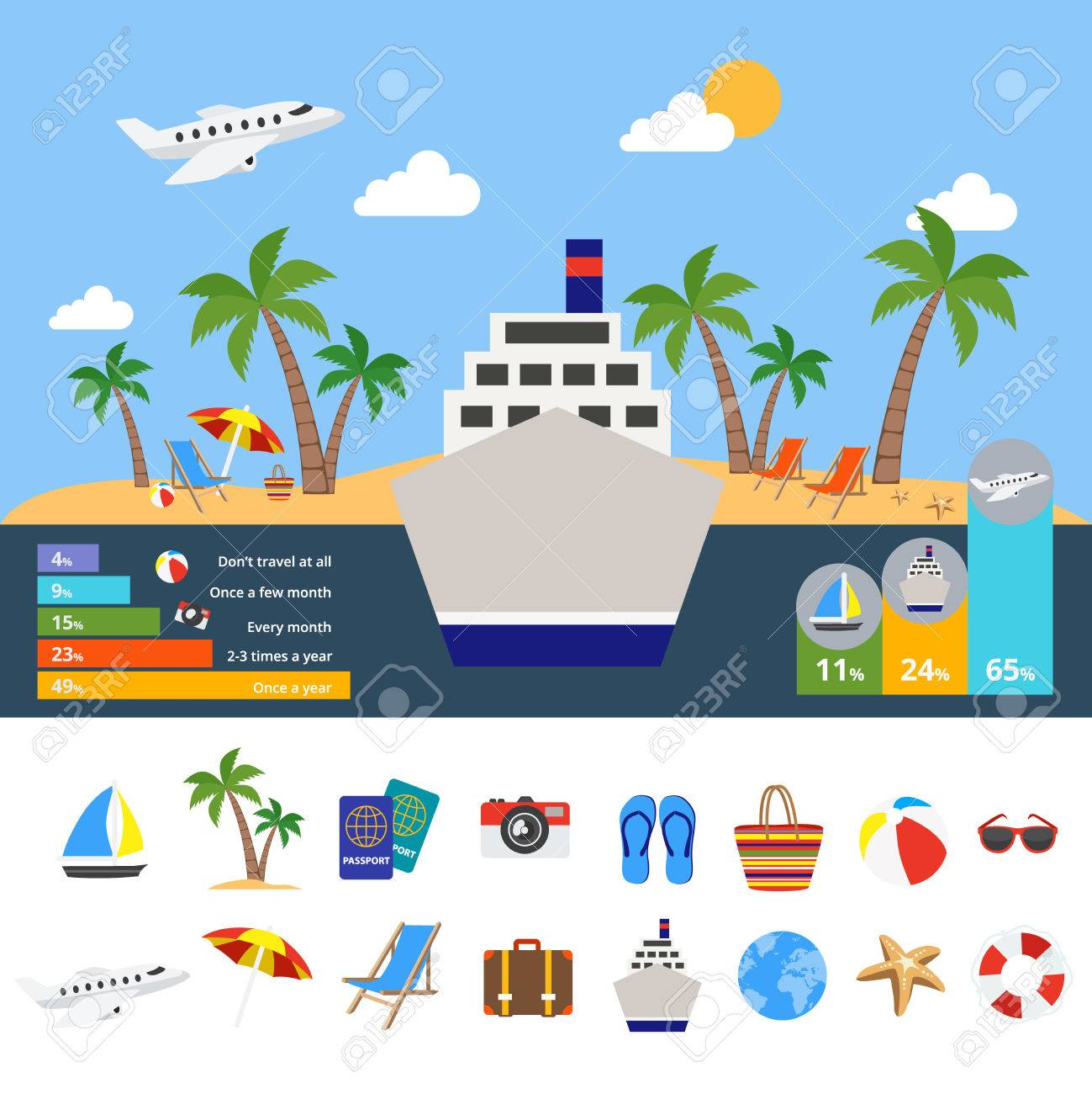 World of tourism infographics with cruise ship in center symbol world of tourism infographics with cruise ship in center symbol of global travel statistics diagrams vector pooptronica