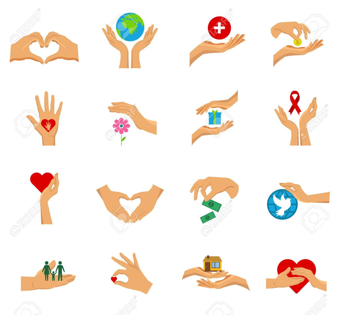 Flat isolated icon set with hands in different gestures symbols flat isolated icon set with hands in different gestures symbols of charity care help and love buycottarizona Images