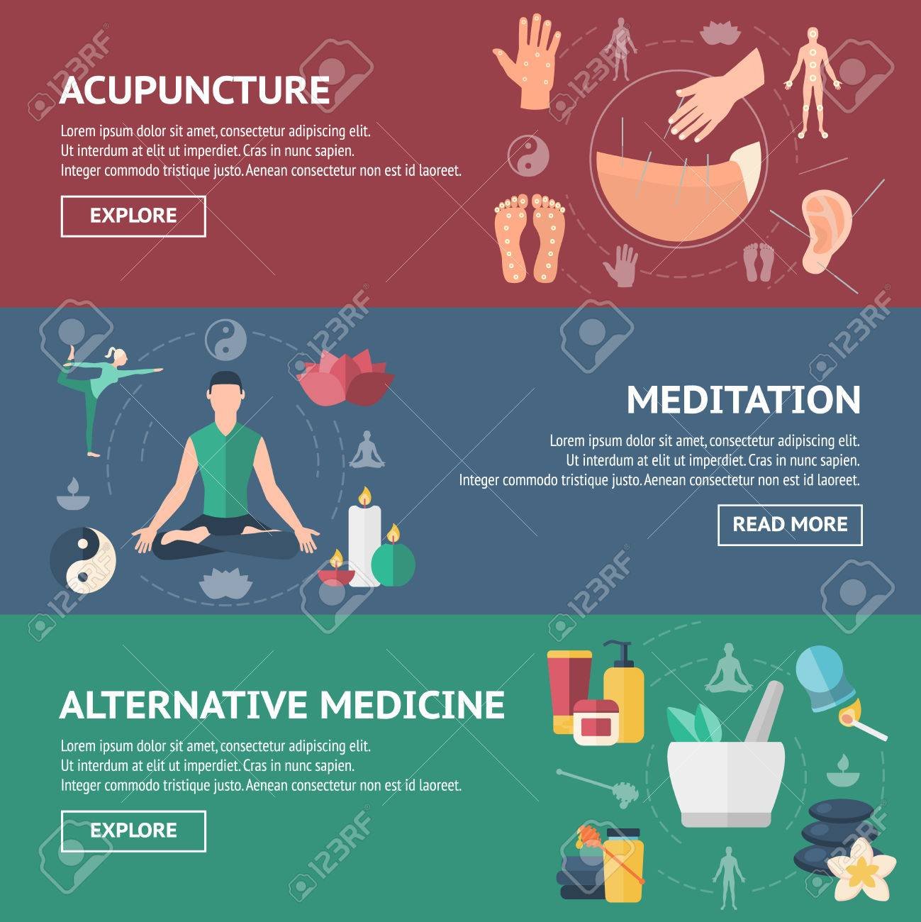 Acupuncture banner set colored with people and titles of acupuncture meditation and alternative medicine - 56100110