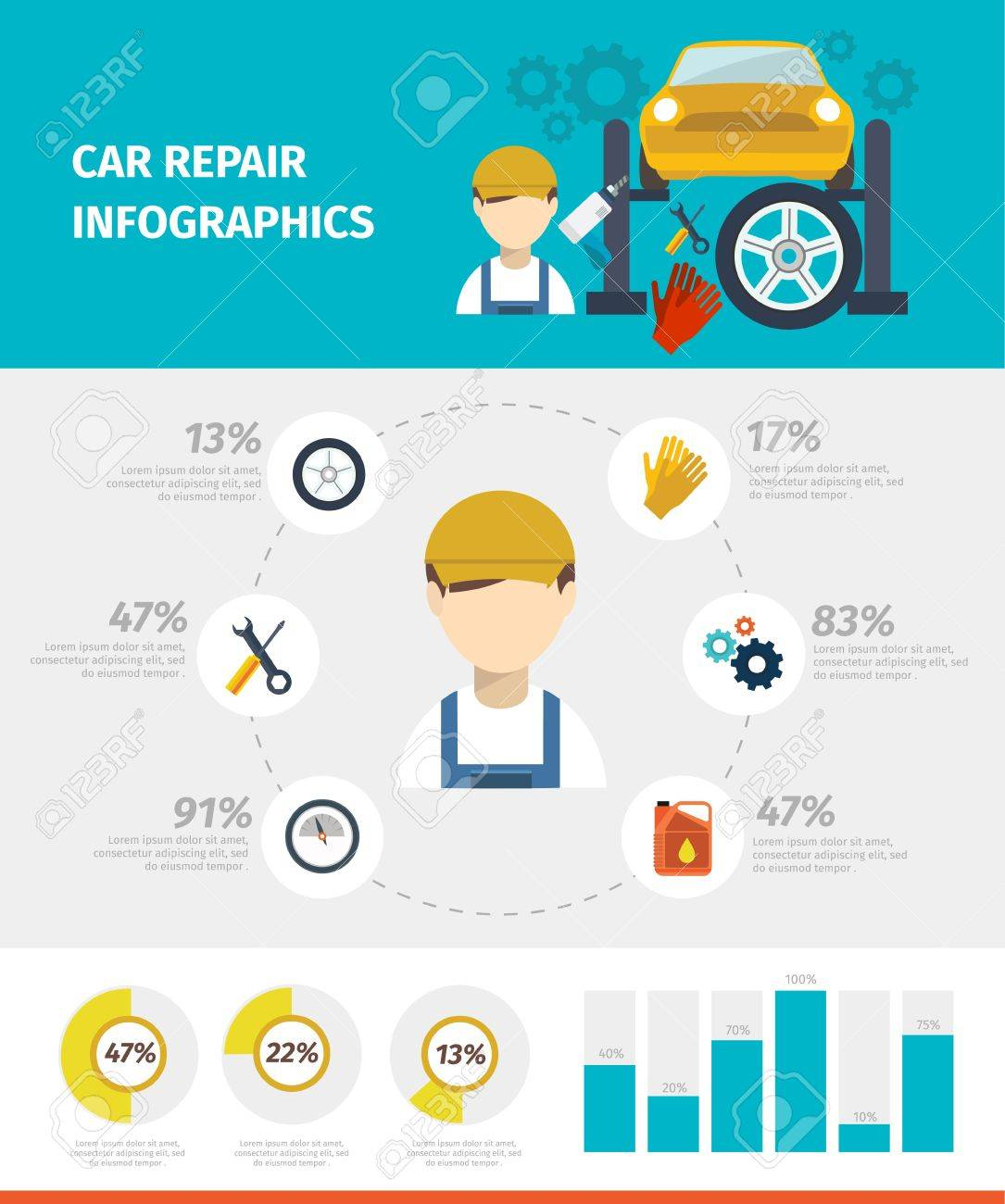 car repair infographics with avatar of mechanic and working tools in center  diagrams statistics vector illustration