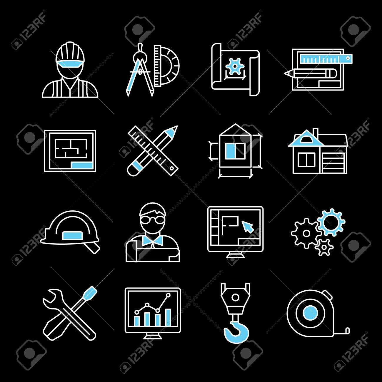 Blueprint white blue linear icons on black background with engineer blueprint white blue linear icons on black background with engineer worker professional programs tools isolated vector malvernweather Choice Image