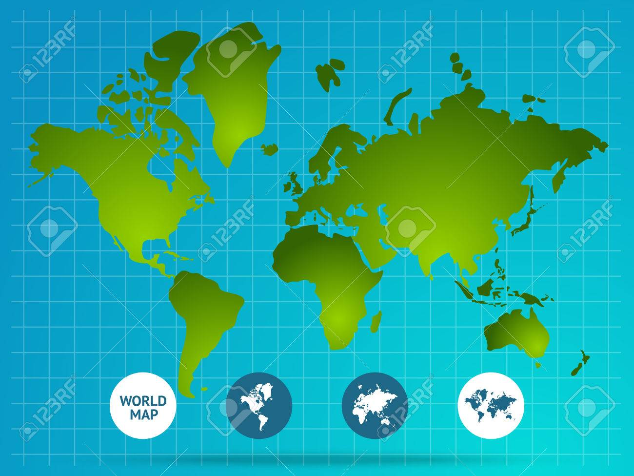 World map page of website with green continents grid buttons vector world map page of website with green continents grid buttons at bottom on blue background vector illustration gumiabroncs Gallery