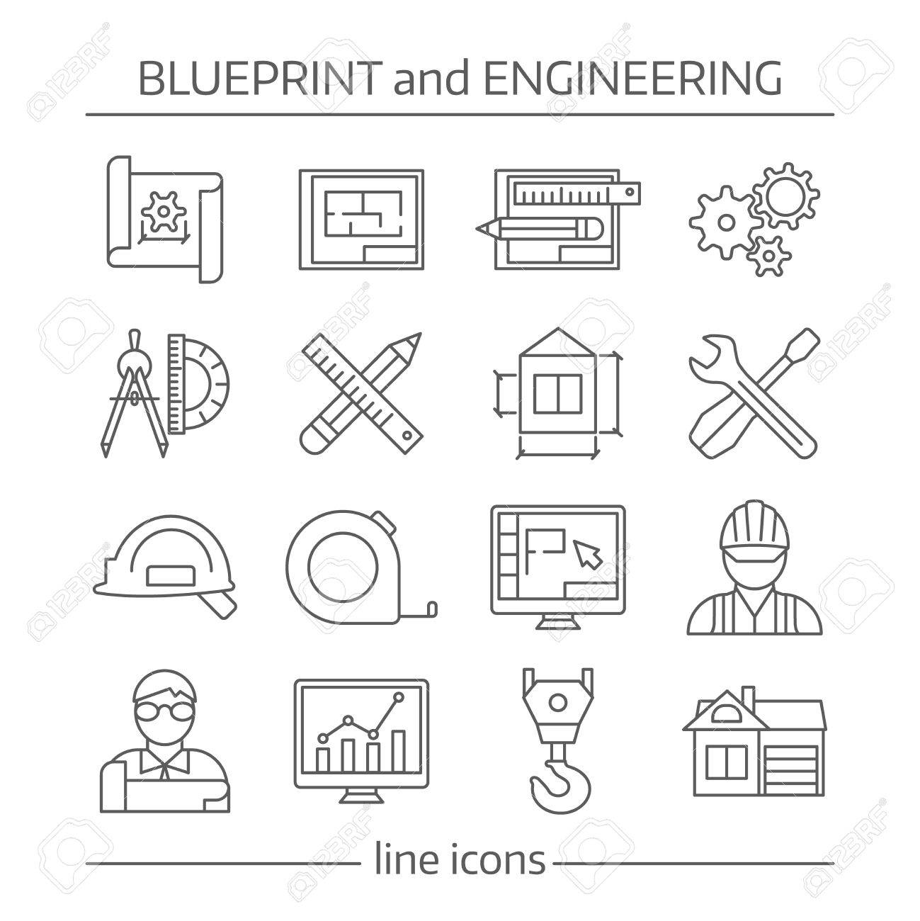 Blueprint and engineering linear icons set with gears computer blueprint and engineering linear icons set with gears computer programs crane tools drafts schemes isolated vector malvernweather Images