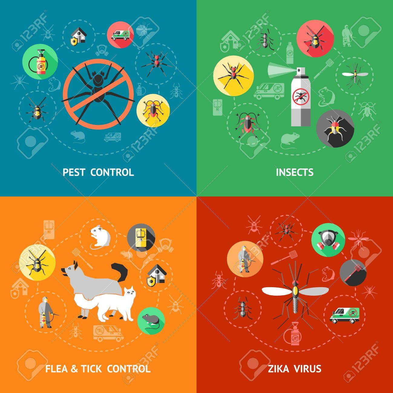 Pest control concept with insecticide against ant cockroach mosquito flea tick zika virus protection isolated vector illustration - 56864279
