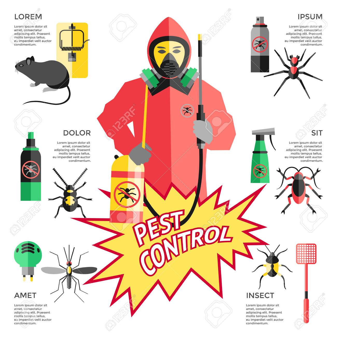 Service for pest control website with worker in protective clothes in center means of destruction vector illustration - 56863522