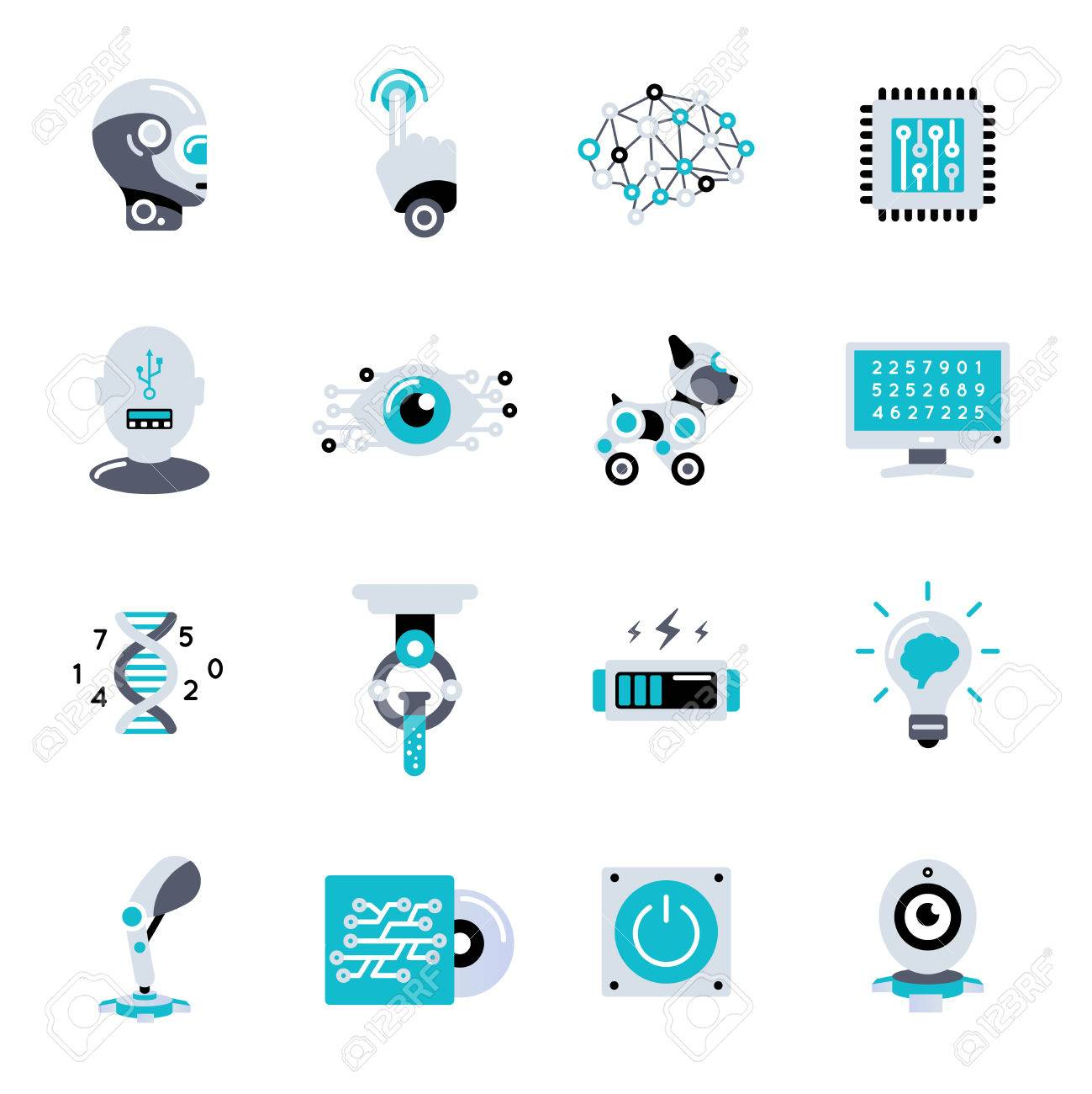 Artificial intelligence flat icon set robotic processes in our life and different robots vector illustration - 57653224