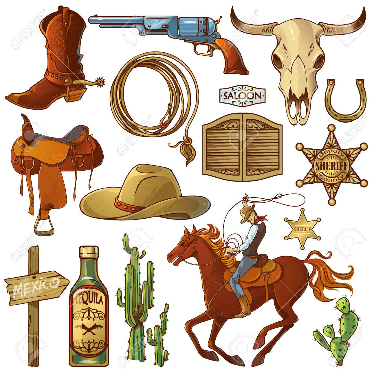Wild west elements set with icons cowboy icons cowboys equipment..