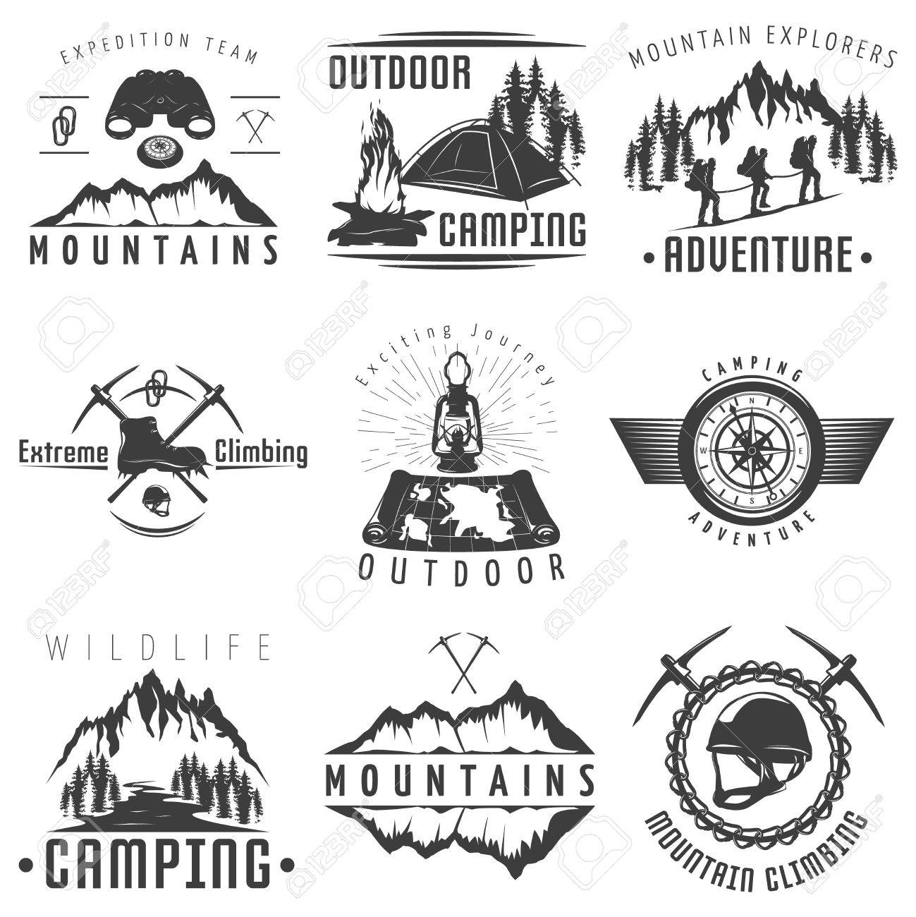 mountains black white labels with natural landscape climbing