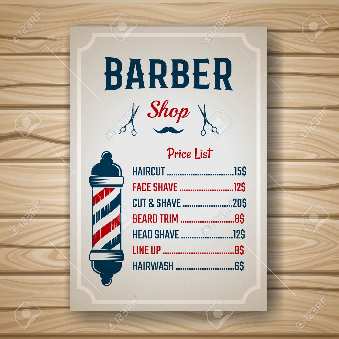 Barber shop colored price or brochure list with prices at the hairstyles and haircuts on table vector illustration - 58296627