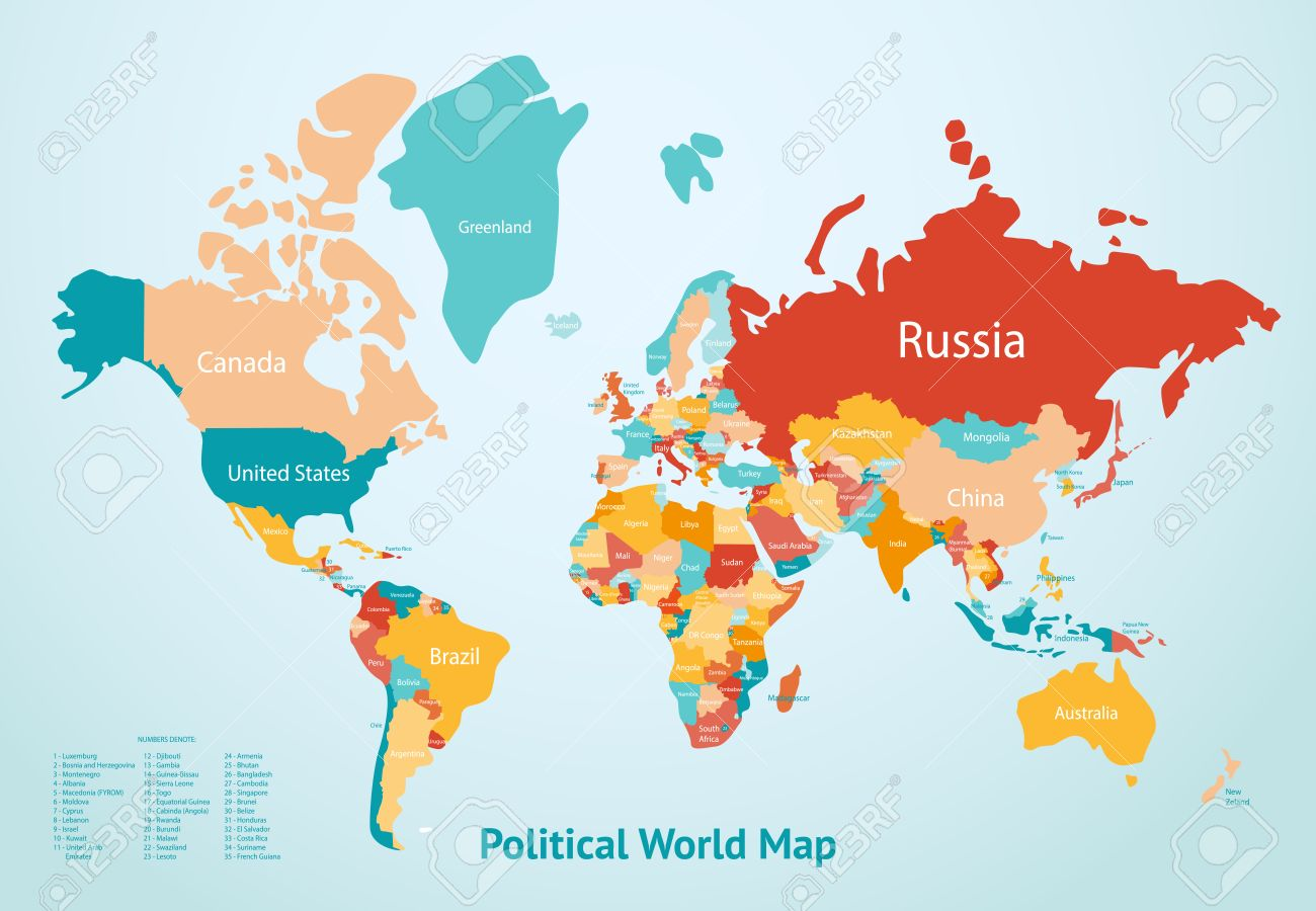 Great Earth Map With Countries Divided By Color And Description Of Political World  Map Vector Illustration Stock