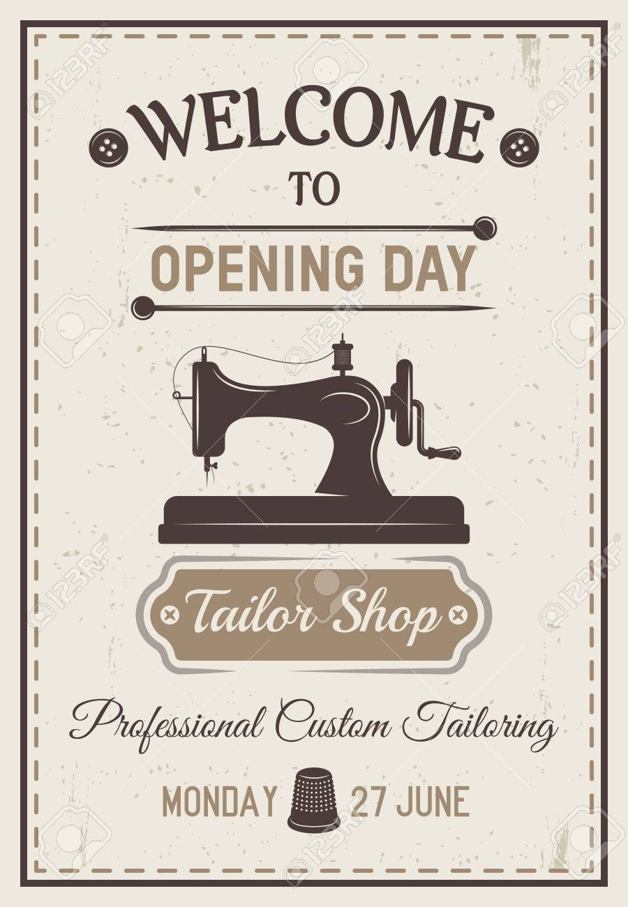 gray tailor poster or flyer with headline welcome to opening