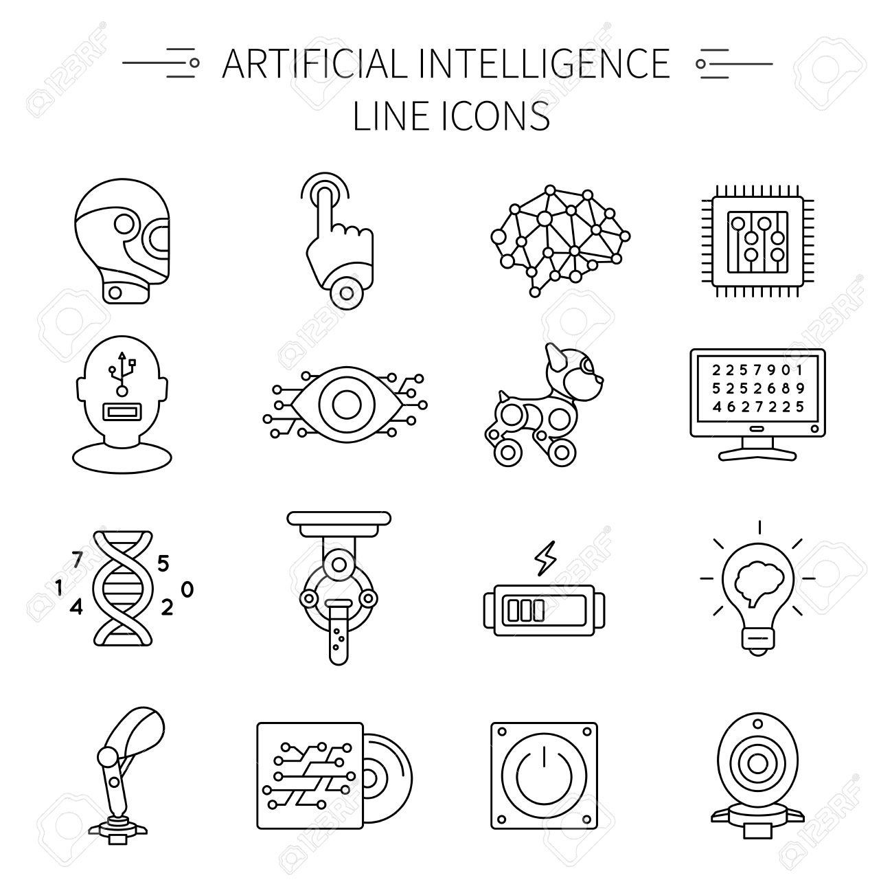 Artificial intelligence line icon set with different or various types of robots and parts vector illustration - 58297382
