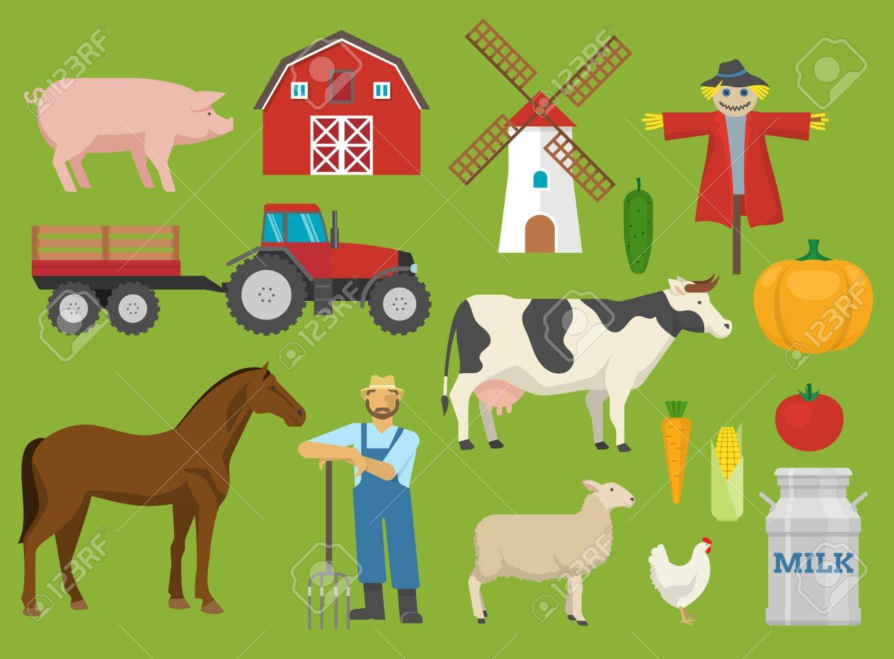 Farm Decorative Flat Icons Set With Barn Tractor Mill Animals Worker On Green Background Isolated Vector
