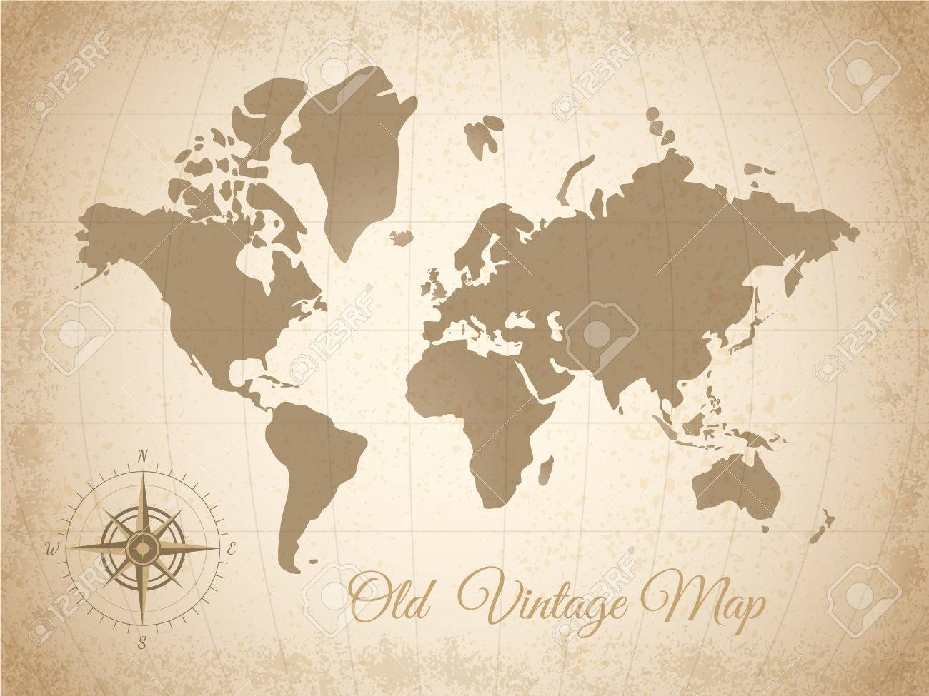 Map Of The World With Compass.Old Colored Vintage Map With Compass At The Bottom Left Corner