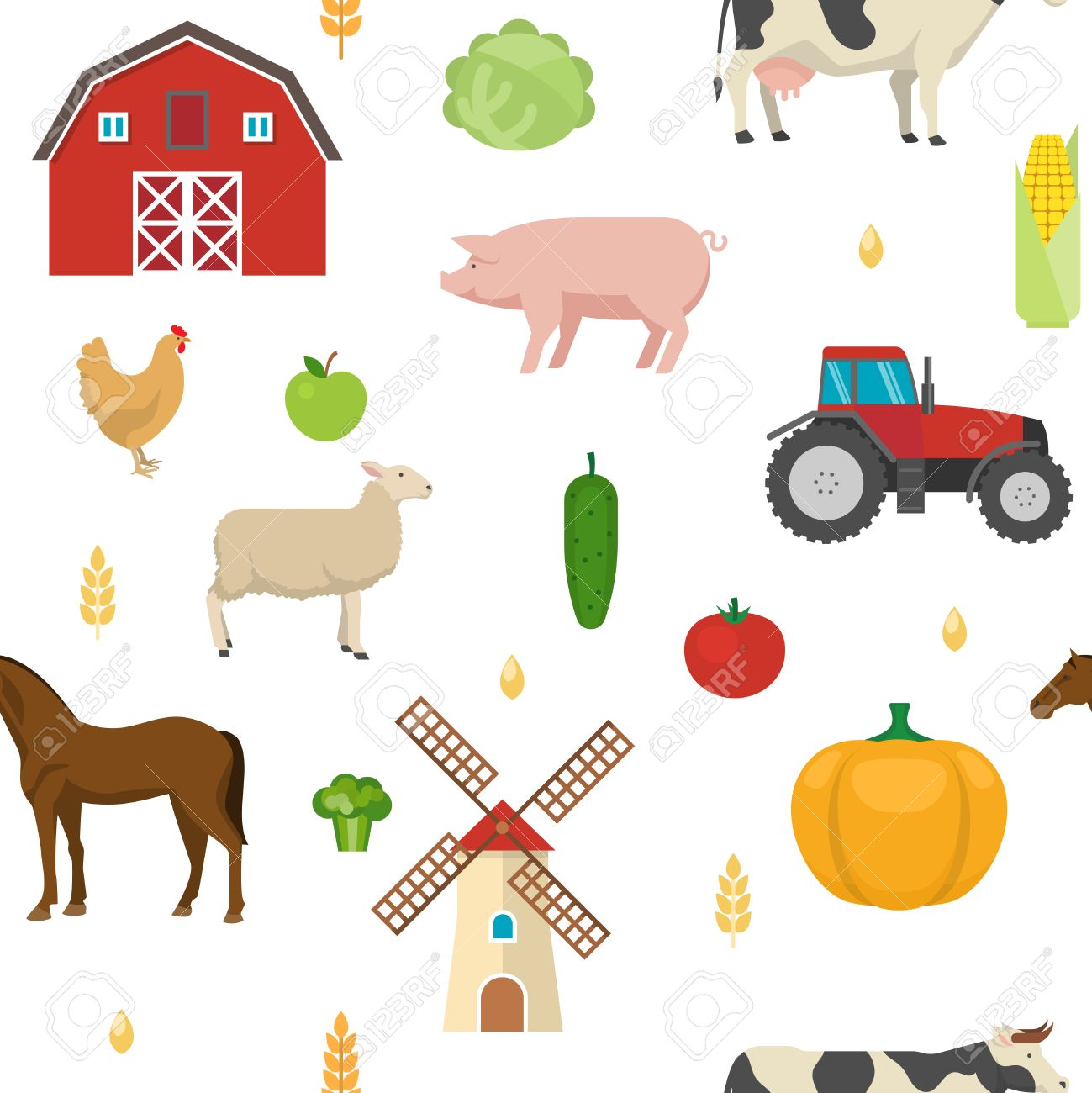 Agriculture Seamless Pattern With Grains Fruit Vegetables Barn Windmill Tractor Farm Animals On White Background Vector