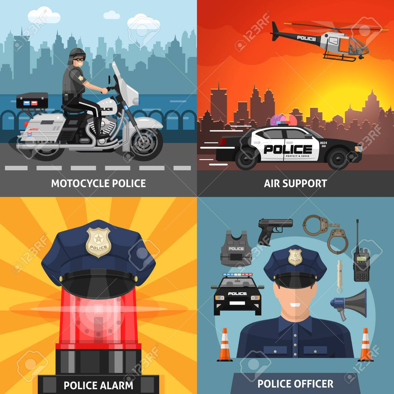 Four square colored police icon set with headlines motorcycle police air support police alarm and police officer vector illustration - 128174048