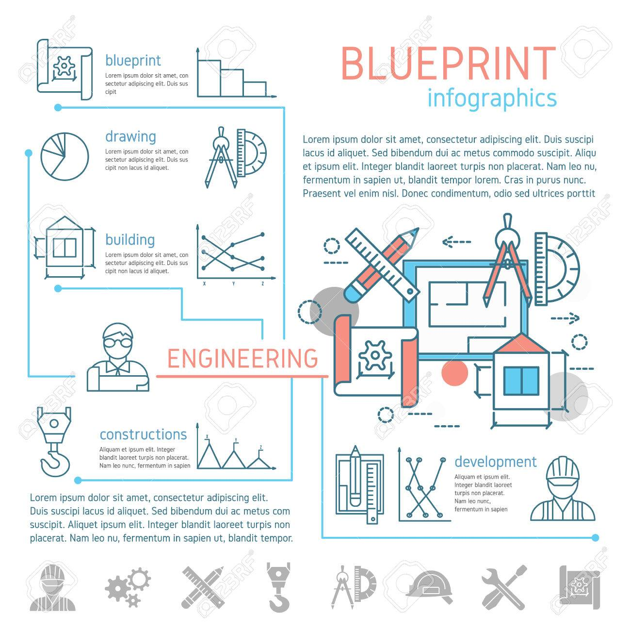 Blueprint and engineering linear infographics with drafts and blueprint and engineering linear infographics with drafts and drawing tools design text diagrams graphs vector illustration malvernweather Images