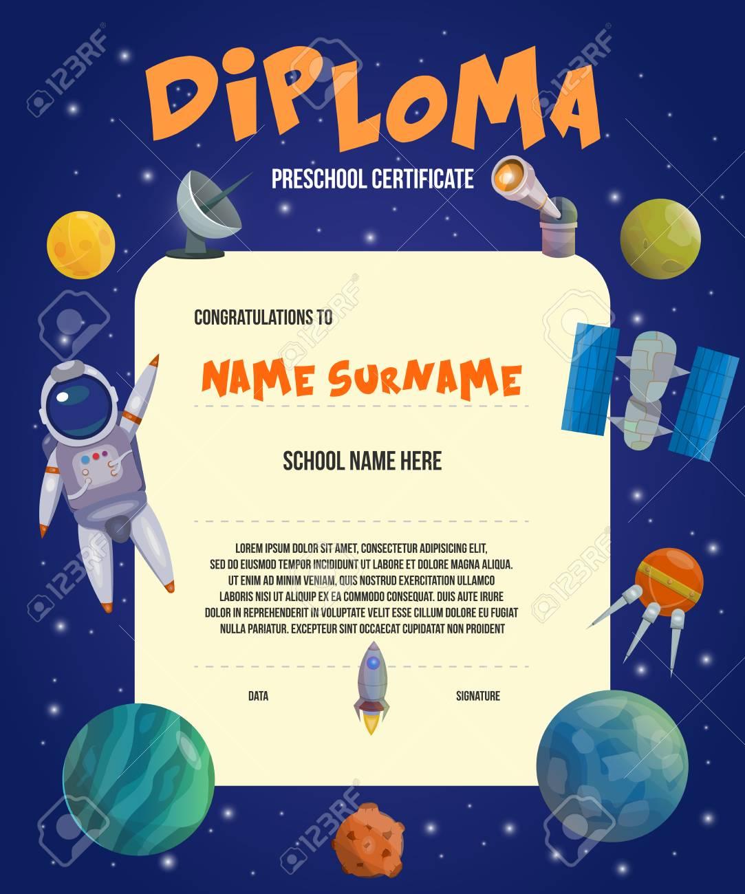 Colored Space Universe Card Or Diploma Preschool Certificate