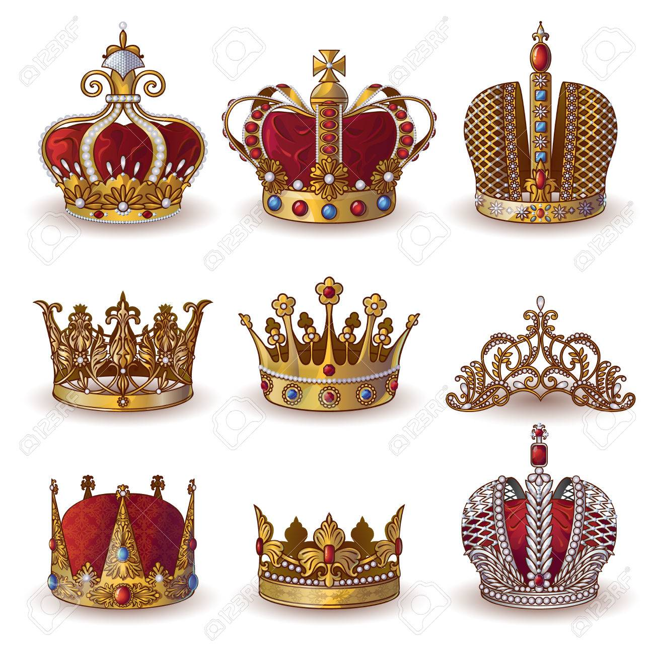 Royal Crowns Collection Of Gold And Silver Jewelry Of Different ...