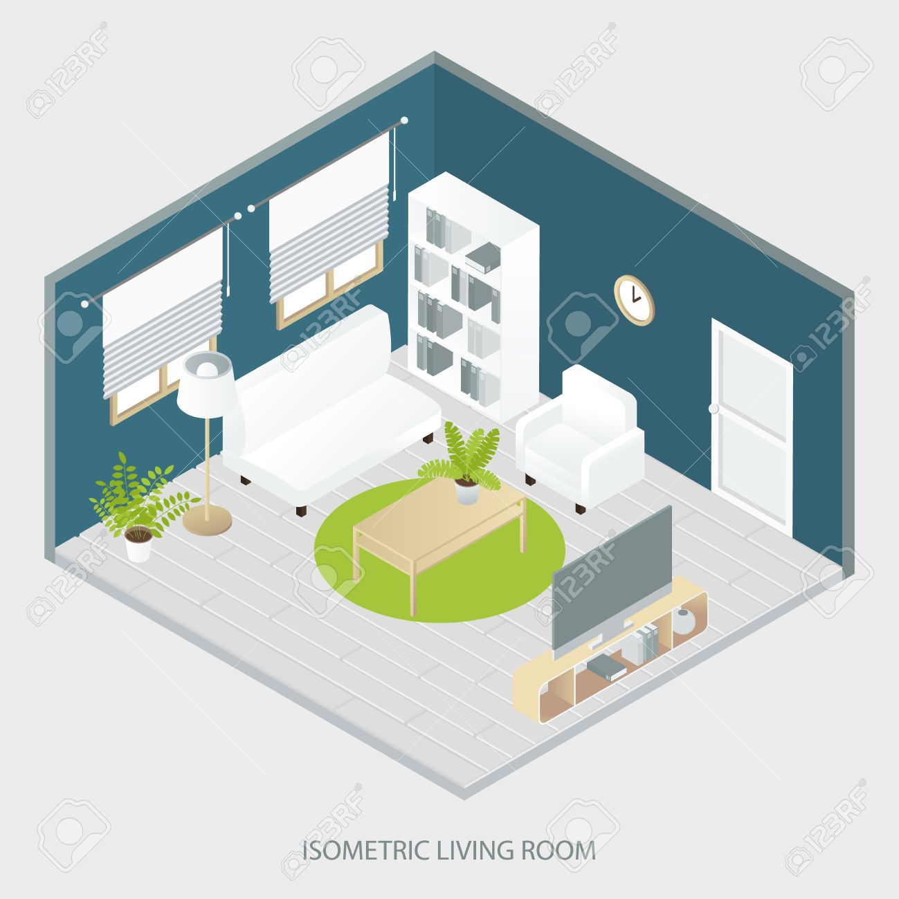 Isometric Living Room With White And Beige Furniture Round Carpet ...