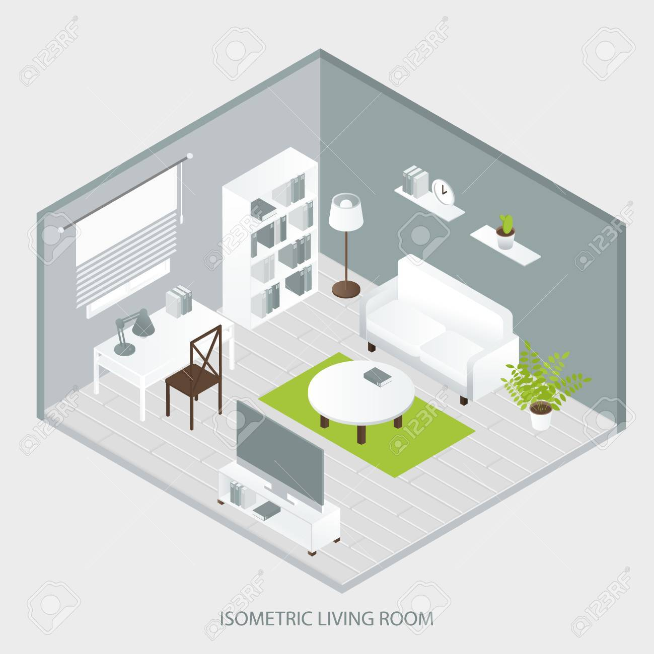 Isometric Home Interior Of Sofa Bookcase Tables Grey Walls And ...